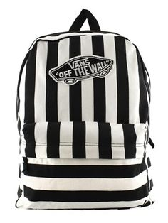 2c7ba4ff1e649e Vans Black and White Striped Realm Backpack