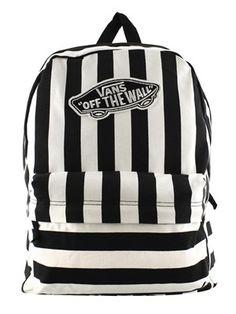 Vans Black and White Striped Realm Backpack #vans #backpack