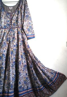 Rare Gypsy style Boho Chic Anokhi Quetzal Paisley Floral Hand block Print Cotton Maxi Dress Size XL
