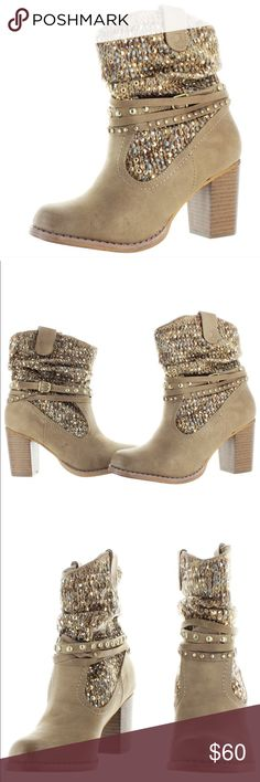 Western Sparkly Strappy Boots Brand New, still in original package. The color is cream, w/ sequins! Not Rated Shoes Ankle Boots & Booties