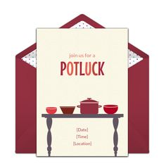 We love this free DIY potluck invitation for a festive Fall dinner party or Thanksgiving get-together. Personalize and send via email.