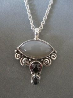 One of a Kind Sterling Silver Moonstone Pendant by RichelleJewelry