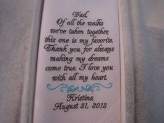 Father of the Bride Custom Embroidered Wedding Handkerchief, Hanky, Hankie
