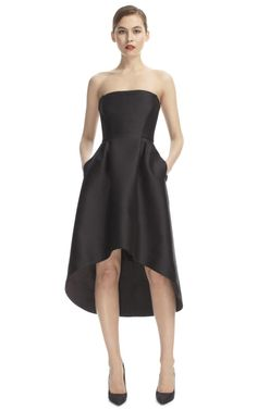 Alberta Ferretti Strapless Saddle Hem Cocktail Dress