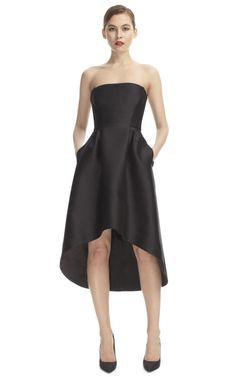 Alberta Ferretti Strapless Saddle Hem Cocktail Dress