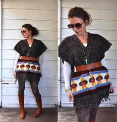 Vintage Peruvian Fringed Poncho Cape Warm Wool by LaDeaDeiSogni, $68.00