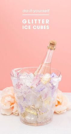 Make your own glitter ice cubes to chill party wine with! Perfect for bridal showers and birthday parties. #glitter #glittericecubes #bridalshower