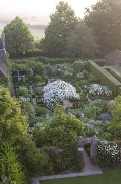 The view over the White Garden from the castle tower. It is said to have inspired white gardens all over the world.