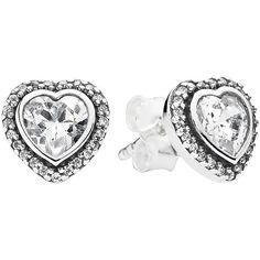 Pandora Earrings ($70) ❤ liked on Polyvore featuring jewelry, earrings, silver, heart stud earrings, heart jewelry, studded jewelry, silver jewelry and pandora earrings