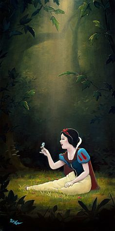Snow White, the fairest of them all, exudes all of the wholesomeness and beauty that her name suggests in this wonderfully composed piece by Rob Kaz. Snow White and the Seven Dwarfs - Smile and a Song. Disney Princess Snow White, Snow White Disney, Snow White Art, Snow White Images, Cute Disney Wallpaper, Wallpaper Iphone Disney, Trendy Wallpaper, Disney And Dreamworks, Disney Pixar