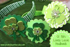 St. Pat's Lovely Lassie Headbands #stpatricksdaycrafts #headbands #yesterdayontuesday