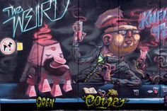 The collaborative group going by the name, The Weird, got together to paint the following wall in Vienna.  Each artist painted a distinctly different character drinking at a long smokey bar, with plenty of entertaining details.  Artists who participated on this wall were Oren, Cone, Nychos, Frau Isa, Rookie, and Dxtr.