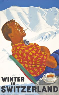 Artist: Erich Hermès (1881-1971) Title: WINTER IN SWITZERLAND   Read more    Vintage    ski travel posters  Vintage    skiing posters  More    vintage travel posters
