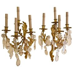 Pair of French Bronze and Crystal Sconces Crystal Sconce, Modern Wall Lights, Contemporary Lamps, Cool Furniture, Wall Sconces, Chandelier, Bronze, Ceiling Lights, Crystals