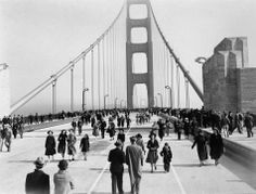 This is a view of the Golden Gate Bridge, linking San Francisco's Fort Point to Marin County, as it looked when it opened to pedestrians, May 27, 1937.