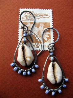 Cowrie Shell Chandelier Earrings by WanderLustre on Etsy