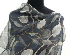 Long chiffon silk scarf hand painted grey white sheer scarf