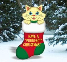 #Christmas #Cat in Stocking Yard Art