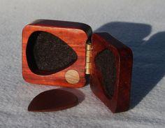 PERSONALIZED guitar pick box ooak Padauk hard wood felt lined perfect magnetic latch perfect Fathers day gift
