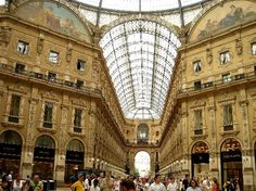 The first mall in the world: Galleria Vittorio Emanuele II Piazza del Duomo, Milan, Italy .  Count me in!