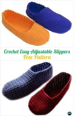 Crochet Easy Adjustable Slippers FreePattern