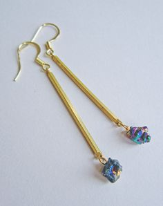 Andromeda Titanium Quartz Drop Earrings — Eclectic Eccentricity Vintage Jewellery