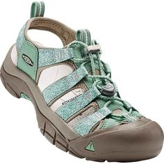 Keen Women's Newport H2 Malachite/Silver Branch Hiking Boots & Shoes (1.595 ARS) ❤ liked on Polyvore featuring shoes, green, traction shoes, keen footwear shoes, keen footwear, green shoes and water shoes