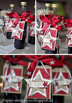 Papier, Stempel & Co: Adventskalender Blog Hop - Kreativ am Deich Team 15. (-24.) Türchen Wine Bottle Tags, Wine Tags, Wine Bottle Crafts, Stampin Up Christmas, Christmas Gift Tags, Christmas Crafts, Christmas Wrapping, Holiday Gifts, Stampin Up Weihnachten