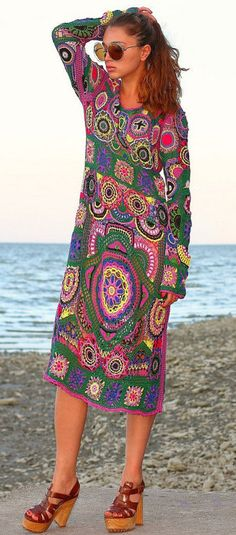 multicolor crochet dress by Balarri on Etsy