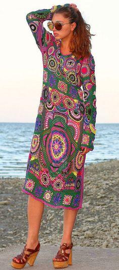 multicolor crochet dress by Balarri on Etsy