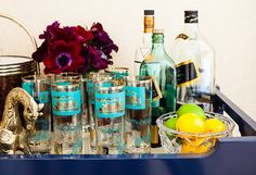 A simple tray = an instant bar, as evidenced by this stylish setup in Lauren's LA home.