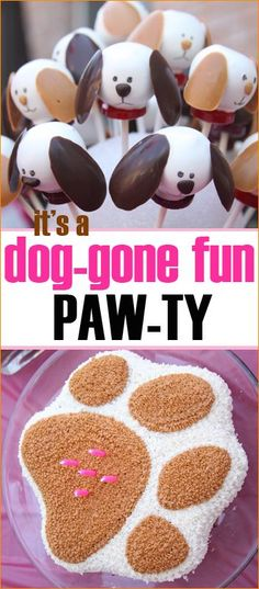 Doggies Galore.  Great party ideas for a boy or girl who loves puppies.  Dog themed food, snacks and party favors.