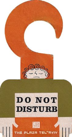 Do Not Disturb sign from The Plaza in Tel Aviv, Israel