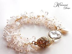 Clear Quartz Statement Bracelet Gold Chain Bridal Bracelet Wedding Gemstone Jewe $35.00