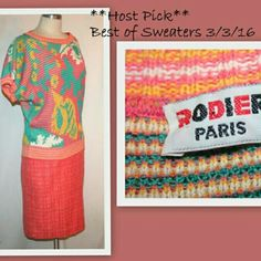 "**HP** 1980s Rodier Paris New Wave Vintage Sweater Host pick 3/3 for best of sweaters! 1980 new wave style sweater by Rodier Paris. The cotton blend sweater has a bold floral pattern in salmon, yellow, white and turquoise. Short dolman sleeves. Striped rib-knit around the neckline, sleeve cuffs and hem. There are a few barely noticeable loose threads in the knit, not visible unless you closely examine the item.  54% cotton 40% acrylic  Machine washable   Made in France Bust 44"" waist 31""…"