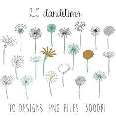 Dandelions doodles : flower clipart / doodle clipart / hand sketched clipart / spring doodles