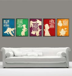 Vintage Pixar Movies Poster UP, Monsters Inc, Ratatouille, Brave and Toy Story 11x17 Poster Set
