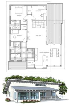 Small home design. Simple lines and spacious interior areas. Small house plan with affordable building budget. Floor Plan from ConceptHome.com