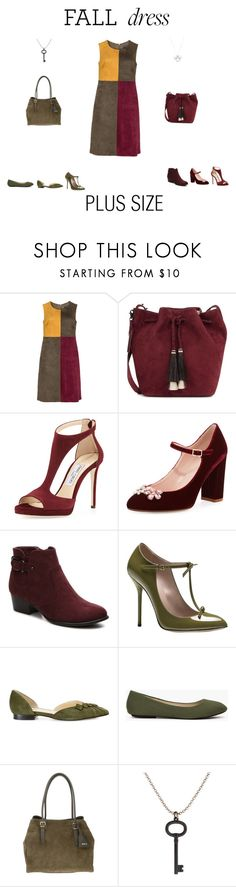 """""""Fall Dress Plus Size/ Curvy"""" by jessicasanderstx ❤ liked on Polyvore featuring Manon Baptiste, Loeffler Randall, Jimmy Choo, Kate Spade, Unisa, Gucci, Sarah Flint, Abro, Tiffany & Co. and plus"""
