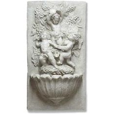 Bacchanale d'Enfants Wall Indoor/Outdoor Fountain - Modern Outdoor Wall Fountains, Outdoor Walls, Indoor Outdoor, Tabletop Fountain, D 40, Classic Garden, Water Features, Old World, Lion Sculpture