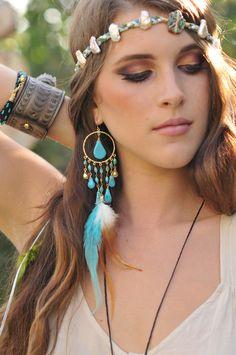 GYPSY TRAVELER Turquoise, Gold Fill Festival Jewelry, Feather, Earthy, Long Dangle Earrings. $150.00, via Etsy.