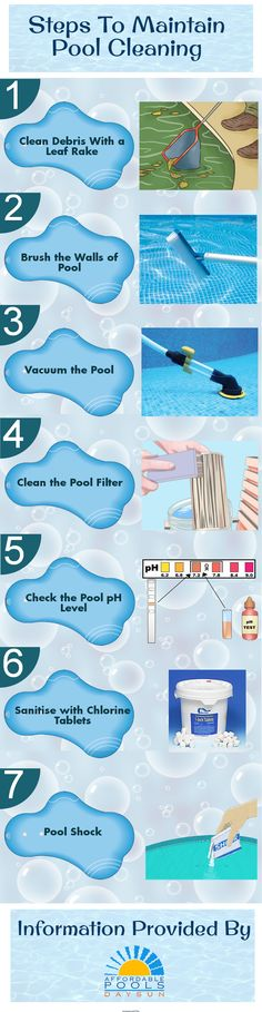 Swimming pools require proper cleaning and maintenance. The various maintenance steps involve cleaning debris with a leaf… (With images) Pool Spa, Diy Pool, Pool Cleaning Tips, Cleaning Hacks, Piscine Diy, Living Pool, Swimming Pool Maintenance, Pool Hacks, Pool Care