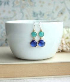 Mint Opal Framed Glass Drop, Cobalt Blue French Dangle Earrings.  Modern Everyday. Wedding Jewelry,  Bridal Earrings. Bridesmaids Gifts