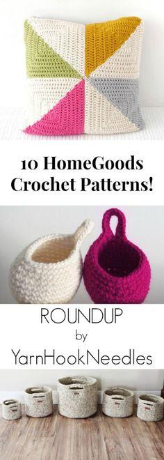 10 Crochet HomeGoods Patterns by YarnHookNeedles -