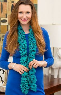 By the Sea Ruffle Scarf Free Knitting Pattern from Red Heart Yarns
