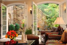 Beautiful leather and love the French doors and outside space
