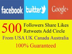 Get 500 followers, share, likes, retweets, add circle