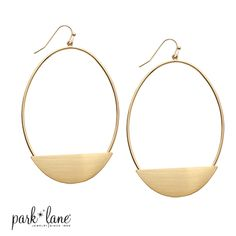 NOUVEAU EARRINGS  A satin-finish gold half-moon accents the base of these 3-inch long elliptical-shaped hoop earrings. Slip them on and watch heads turn!