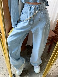 Retro High Waist Washed Light Blue Wide Leg Pants from FE CLOTHING S code: Waist Hip: Thigh: Calf: Pants: M code: Waist circumference Hip circumference: Thigh circumference: Calf circumference: Pants length: L code: Waist Hip: Thigh: Calf: Pants: Lässigen Jeans, Casual Jeans, Wide Leg Jeans, Mom Jeans, Casual Outfits, Guess Jeans, Casual Ootd, Ladies Jeans, Stylish Jeans