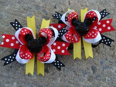2 Disney Hair Bow Mickey Mouse Hair Bow Minnie Mouse Hair Bow Mini Boutique Hair Bows on Etsy, $9.50